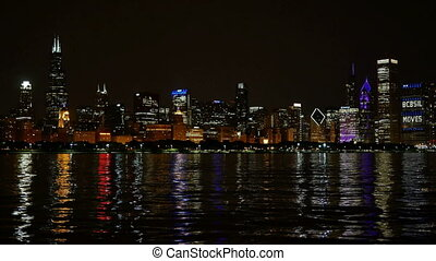 Chicago Skyline Reflected Lake - Chicago downtown cityscape...