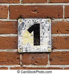 Number 1 - House number one, hand painted on a metal plate