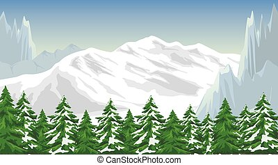 Winter mountain landscape - Illustration of the mountain...