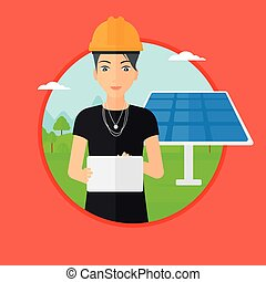 Female worker of solar power plant. - A female worker of...