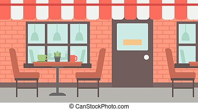 Background of street cafe Cafe on the street with table and...