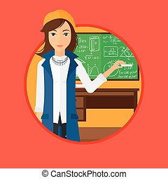 Teacher in front of blackboard with chalk in hand - A...
