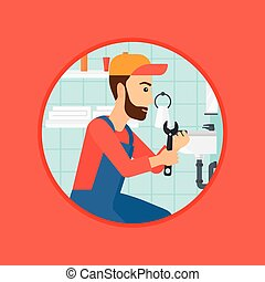 Plumber fixing sink pipe with wrench - A hipster plumber...