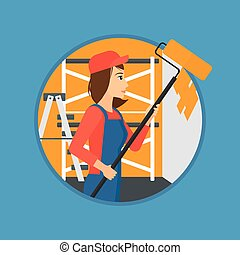Painter with paint roller. - A female painter in overalls...