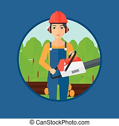 Woodcutter with chainsaw - A female woodcutter holding a...