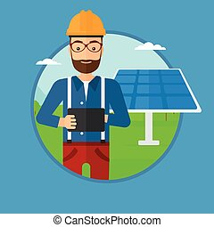 Male worker of solar power plant - A hipster worker of solar...
