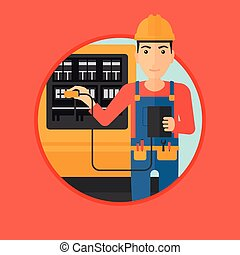 Electrician with electrical equipment - A man in helmet...