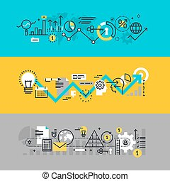 Set of flat line design web banners for business process,...
