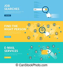 Set of flat line design web banners for job searches, human...