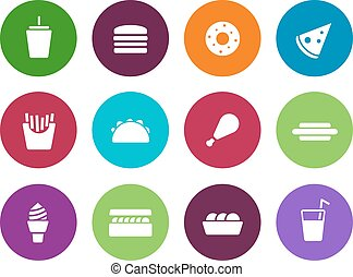 Fast food circle icons on white background. Vector...