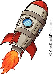 Rocket ship - Cartoon retro space rocket ship. Vector clip...