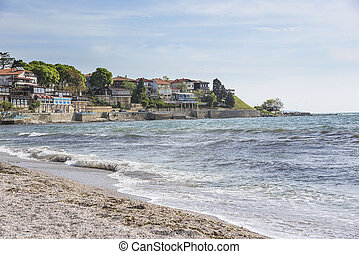 City of Nessebar, Bulgaria - Coast in old city of Nessebar,...