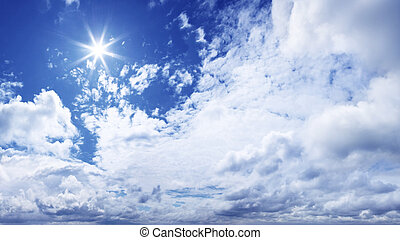 XXXL Blue Sky panorama - Sun and white clouds in the sky