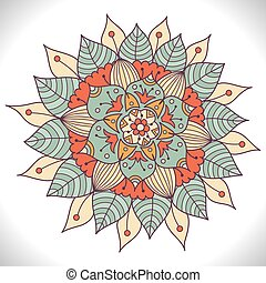 Colorful Floral Mandala. Decorative round ornament