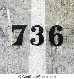 Number 736 - Hand painted house number seven hundred and...