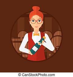 Waitress holding bottle in wine cellar - Waitress standing...