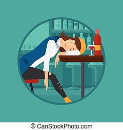 Drunk woman sleeping in bar - A drunk woman deeply sleeping...