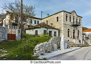 Village of Theologos,Thassos - Panoramic view with old...