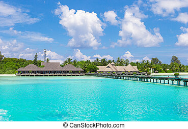 Landscape of stunning tropical beach at Maldives - Beautiful...