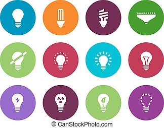 Light bulb and CFL lamp circle icons. - Light bulb and CFL...