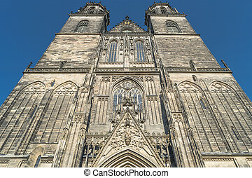 Magnificent Cathedral of Magdeburg at sunset, Germany,...