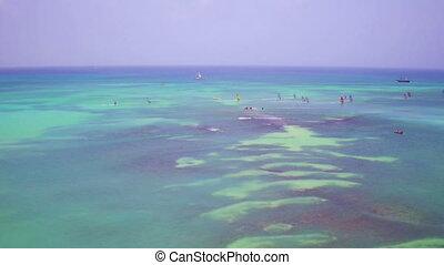 Sailing on the Caribbean sea at Aruba island