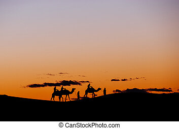 A small group of tourists during a camel trekking at sunset through the Erg Chebbi Dunes.