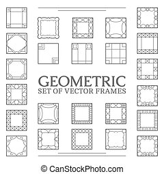Set square frames - Vector square frames. Set line design...