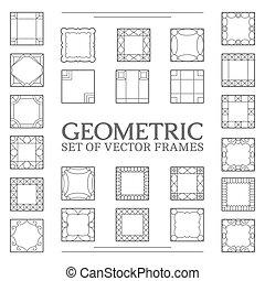 Set square frames - Vector square frames. Set line design...