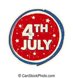 4th of July with stars in circle banner - USA American Independence Day