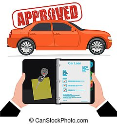 Approved car loan, vector