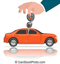 Hands with car key, vector illustration, flat style