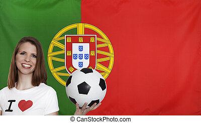 PORTUGAL, bandeira, com, femininas, futebol, ventilador,