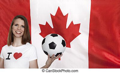Canada Flag with female soccer fan with flag in the...