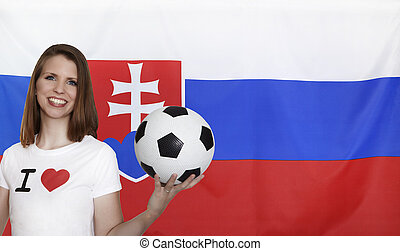 Slovakia Flag with female soccer fan with flag in the...