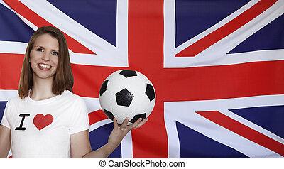 honduras, bandera, con, hembra, futbol, ventilador,