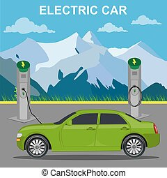 Electric car and charging station, vector illustration, flat...