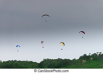 Paragliding at the Brava beach in Florianopolis, Santa...