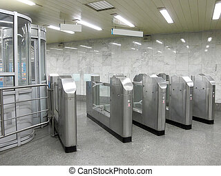 railway vestibule - The image of turnstile at a railway...