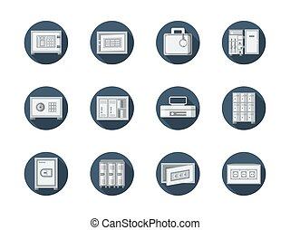 Safe box and locker round blue flat vector icons - Equipment...