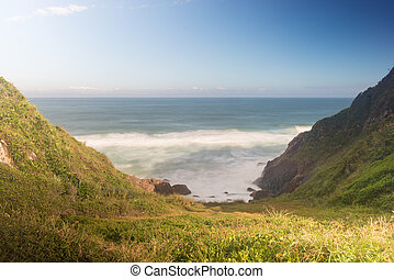 Joaquina beach in Florianopolis, Santa Catarina, Brazil. One...