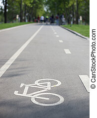 Separate bicycle lane in park - Bicycle lane in park...
