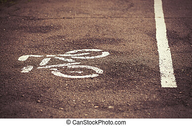 Bicycle lane in the park - Separate bicycle lane on asphalt...