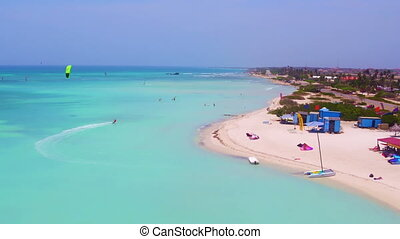 Aerial from kite surfing at Aruba - Aerial from kite surfing...