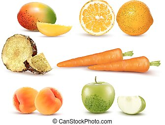 Big group of different fruit and vegetables. Vector.