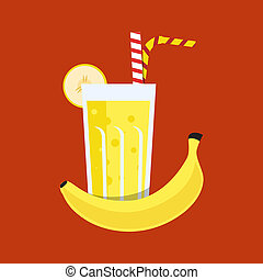Fresh banana juice Banana juice on orange background Banana...