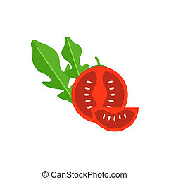 Cherry tomato with leaf arugula vector illustration. Red...