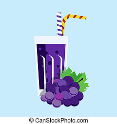 Fresh grape juice Grape juice on blue background Grape juice...