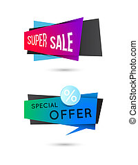 Sale geometric vector banners set Ecommerce bright vector...