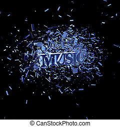 music - exploding word music on black background - 3d...